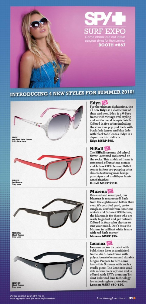 8eaa204f2a Spy Optic Introduces New Sunglasses For Summer 2010