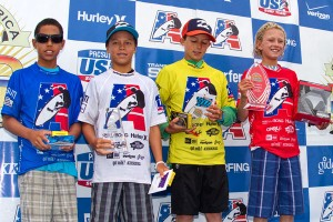 Boys Under 12 finalists. Photo: Jack McDaniel/Surfing America