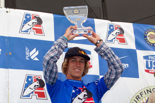 Evan Geiselman with his Governor's Cup. Photo: Jack McDaniel/Surfing America