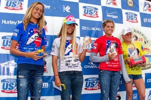 Girls Under 16 finalists. Photo: Jack McDaniel/Surfing America