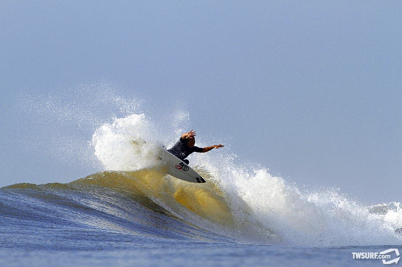 Slammin' Sam Hammer in New Jersey during a great run of Hurricane Igor generated surf in New Jersey. Photo: Stafford/SPL