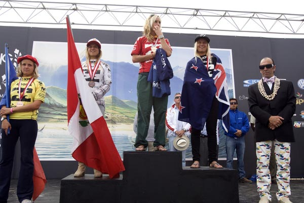 The Women's finalists from left to right: Pauline Ado (France), Sofia Mulanovich (Peru), Chelsea Hedges (Australia), and Paige Hareb (New Zealand). Photo courtesy ISA