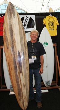 Gary Linden with a few of his handshaped craft. Photo: jackenglish.com