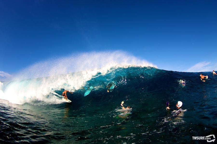 On the four-to-six foot days there are almost as many fish eye photographers in the water as surfers. Kalani Chapman getting the shot for Surfer, Surfing, Waves, Tracks, Stab, Surflie, Carve, Fluir, ASL, and of course, TransWorld SURF. Photo: photobrent
