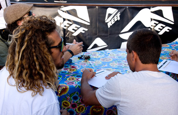 World Miss Reef judges Rob Machado and Dean Morrison had their hands full...