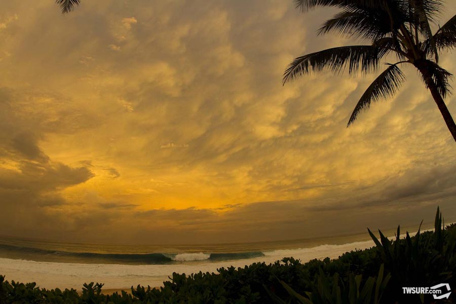 A moody Backdoor Pipeline as seen from the beachfront Oakley house. Photo: Checkwood