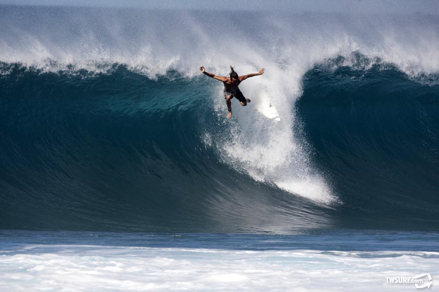 Unidentified cliff diver at Backdoor Pipeline. Photo: Bielmann/SPL