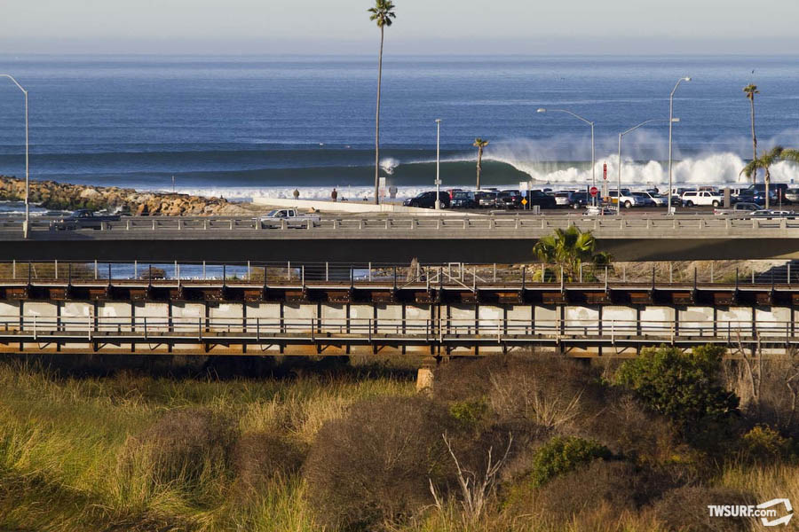 Freight train barrels in Oceanside. Photo: Checkwood