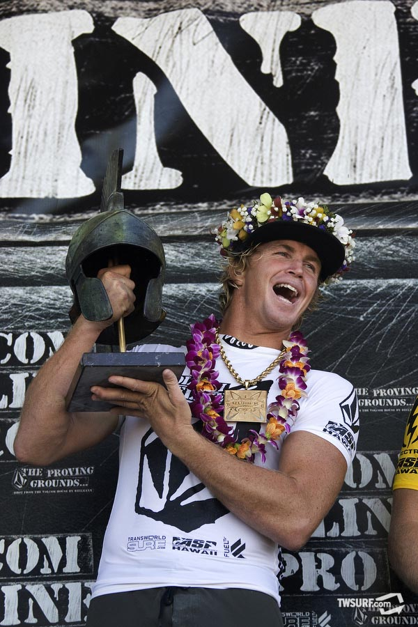 #6. 2010 Volcom Pipeline Pro Champion Jamie O'Brien with the warrior themed helmet that Volcom presented to the winner. After sitting out most of the winter with a broken arm, will JOB be able to repeat his performance in 2010 or will someone dethrone him as the king of Pipeline? Stay tuned, the 2011 Volcom Pipe Pro could begin as early as Monday, January 24. Photo: Bielmann/SPL