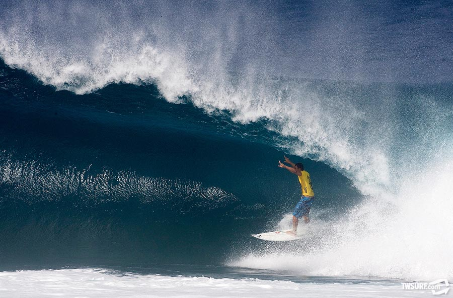 #7. Volcom team rider and North Shore local Marcus Hickman pleased the crowd with a massive close out barrel at Backdoor on day 1 of the Volcom Pipeline Pro. Photo: Bielmann/SPL