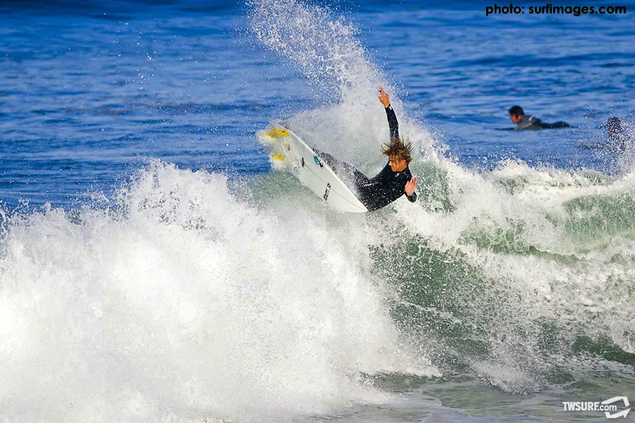 Young Encinitas up-and-comer Luke Rife blasts the lip at Seaside. Photo: English