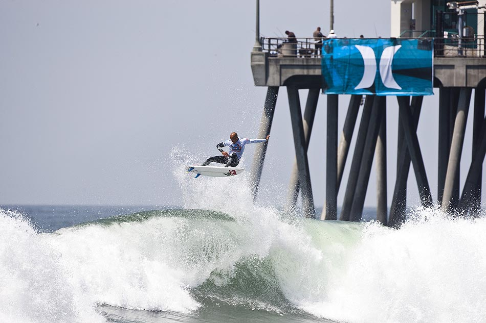 After a fifteen-year hiatus from the winner's podium at Huntington Beach, Kelly Slater seemed to have a personal vendetta against anyone or any wave that stood in his way to a US Open title. At 39-years old Kelly remains at the top of his game. Photo: Checkwood